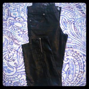 Limited black shimmer denim with back ankle zipper